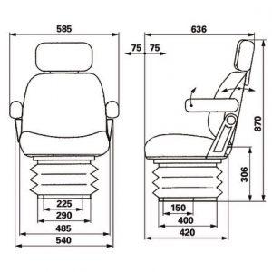 Sjedalo zračni 12V tkanina sivi