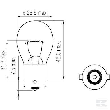 Žarulja B1228 Bulb 12V 18W BA15s