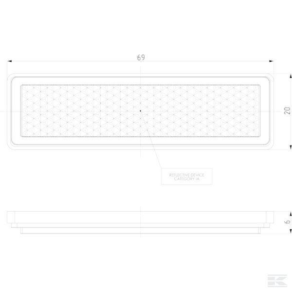 Katadiopter, bijeli, četvrtasti LA75007 Reflector, white, rectangular
