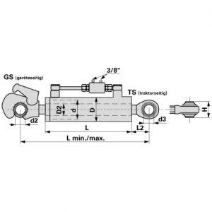 Hidraulični topling Kat.3/2 550-718 mm sa kukom i oko