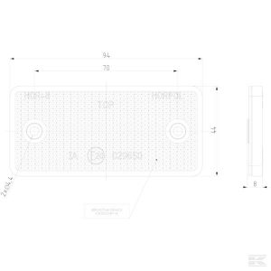Katadiopter, bijeli, četvrtasti LA75001 Reflector, white, rectangular