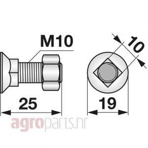 Vijak pluga kvadratni M10x25 10.9